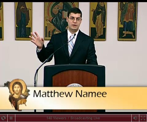 """Matthew Namee delivering his paper """"The Myth of Past Unity"""" at St. Vladimir's Seminary"""