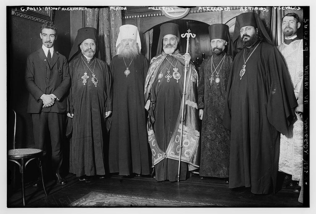 L to R:  G. Polis, Bp. Alexander (Demoglou), Metr. Platon (Rozhdestvensky), Abp. Meletios (Metaxakis), Abp. Alexander (Nemolovsky), Bp. Aftimios (Ofiesh), Adn. Vsevolod (Andronoff)