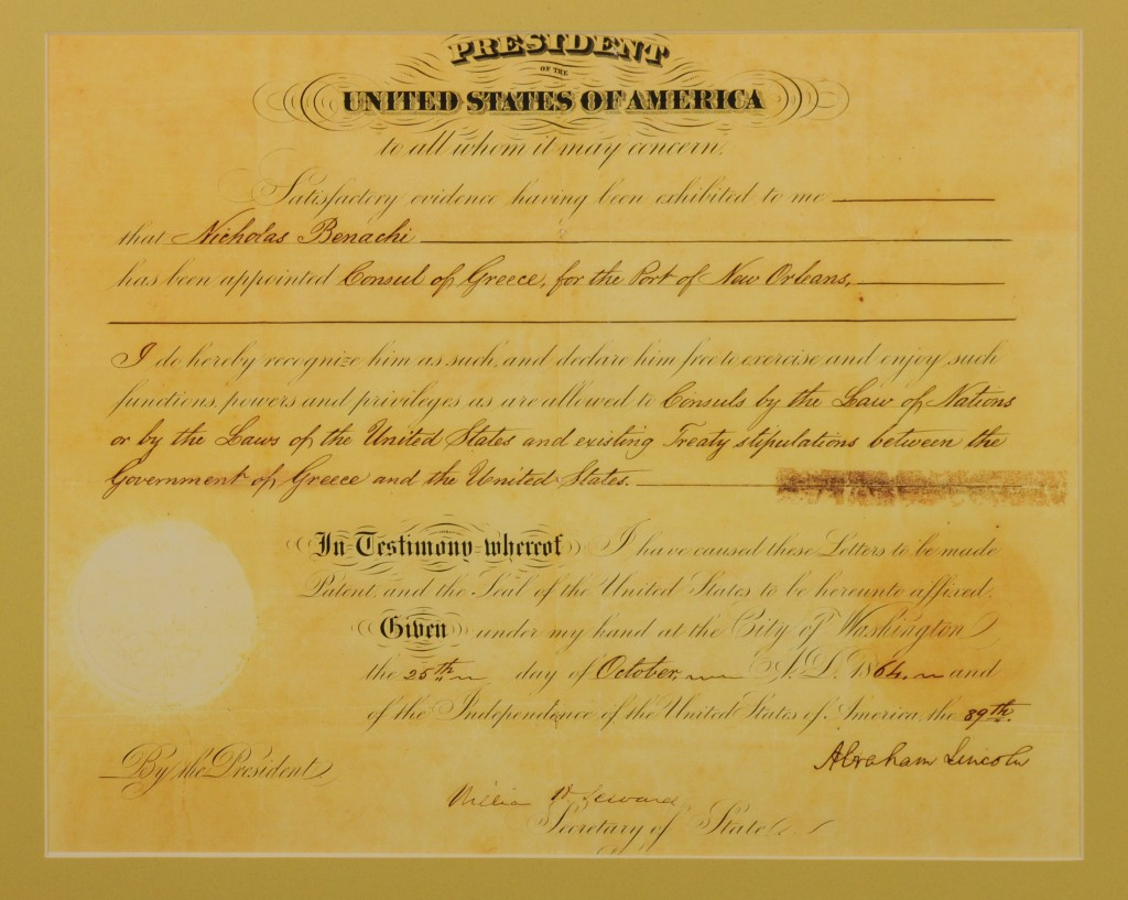 President Abraham Lincoln's official recognition of Benachi's appointment as Greek Consul at New Orleans