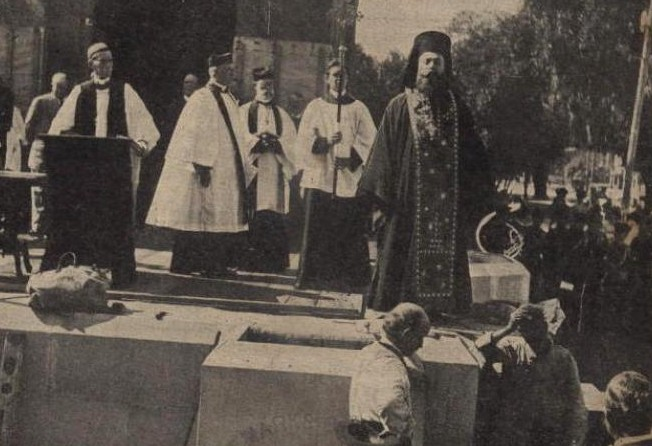 Archimandrite Arsenios Davis of Savannah, participating in the cornerstone-laying ceremony at St. Mark's Episcopal Church in Brunswick, Georgia, in 1911.