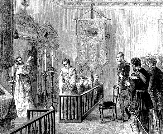 Fr. Nicholas Bjerring in his New York chapel, November 1871. Grand Duke Alexis of Russia is standing behind the chair at the right.