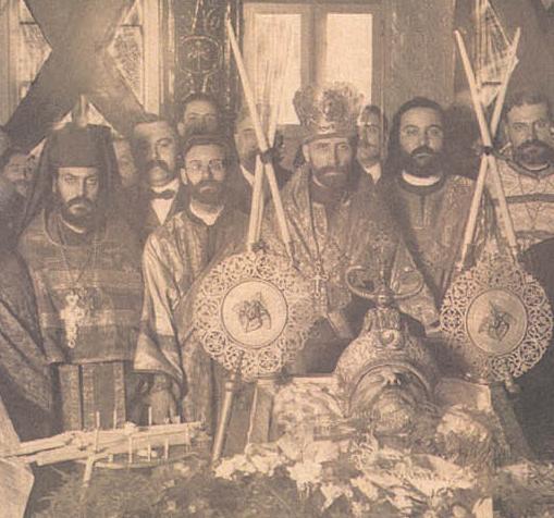 L to R:  Archim. Aftimios Ofiesh, Adn. Emmanuel Abo-Hatab, Abp. Alexander Nemolovsky
