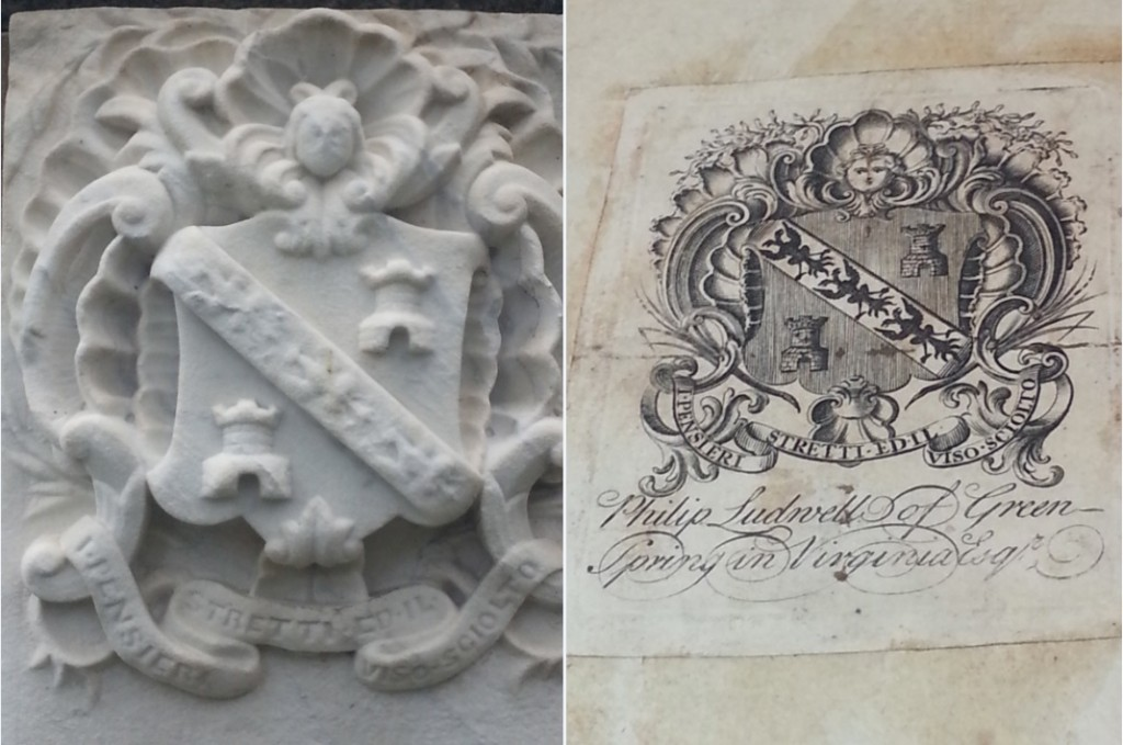 Comparison of the crest at the top of the Philip Ignatius Barziza tombstone (left) and the crest in the book plate of Philip Ludwell III (right). Despite a surname and lineage from a distinguished Venetian family, Philip Ignatius Barziza used the Ludwell family crest on his tombstone.