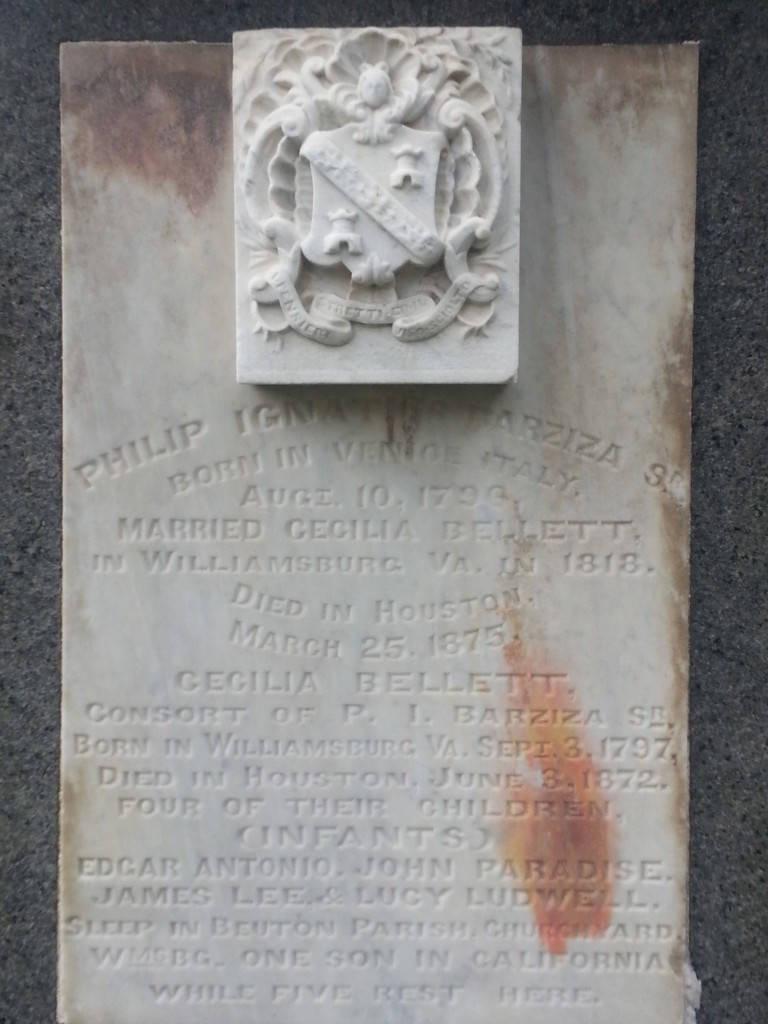 Tombstone of Philip Ignatius Barziza, great-grandson of Philip Ludwell III and grandson of John Paradise and Lucy Ludwell Paradise.