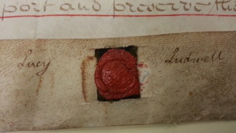 Seal of Lucy Ludwell on documents found in Austin, TX.